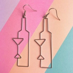 New! Bottle & Glass of Wine Dangle Earrings Silver